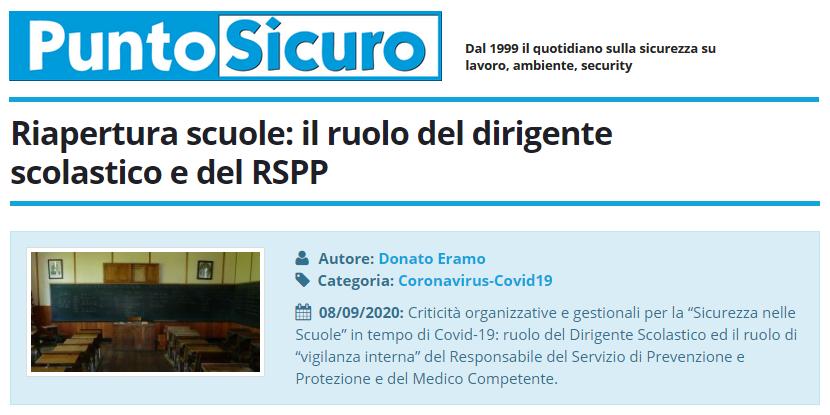 PuntoSicuro - Riapertura scuole: il ruolo del dirigente scolastico e del RSPP