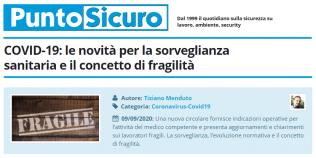 PuntoSicuro - COVID-19: le novità per la sorveglianza sanitaria e il concetto di fragilità