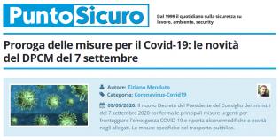 PuntoSicuro - Proroga delle misure per il Covid-19: le novità del DPCM del 7 settembre