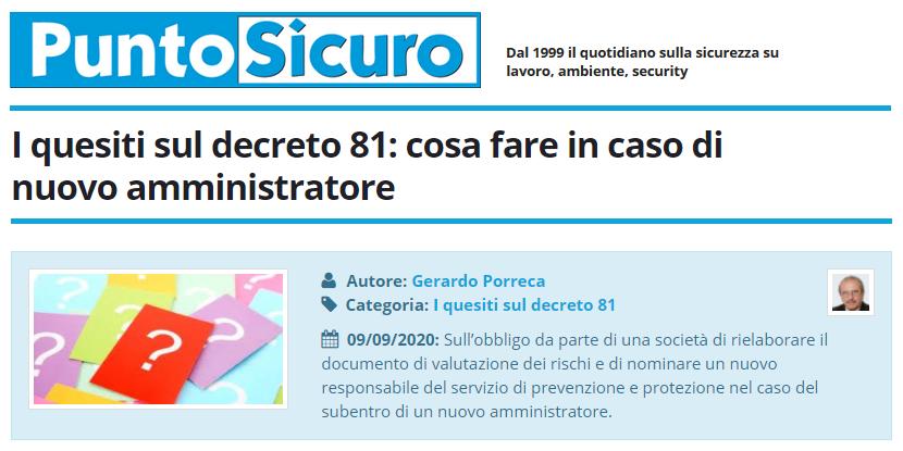 PuntoSicuro - I quesiti sul d.lgs. 81/2008: cosa fare in caso di nuovo amministratore