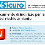 PuntoSicuro - Un nuovo documento di indirizzo per la valutazione del rischio amianto