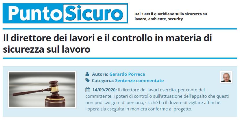 PuntoSicuro - Il direttore dei lavori e il controllo in materia di sicurezza sul lavoro