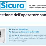 PuntoSicuro - Covid-19: la gestione dell'operatore sanitario contagiato