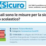 PuntoSicuro - COVID-19: quali sono le misure per la sicurezza nel trasporto scolastico?