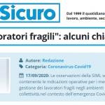 """PuntoSicuro - Circolare """"lavoratori fragili"""": alcuni chiarimenti"""