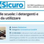 PuntoSicuro - Sicurezza nelle scuole: i detergenti e disinfettanti da utilizzare