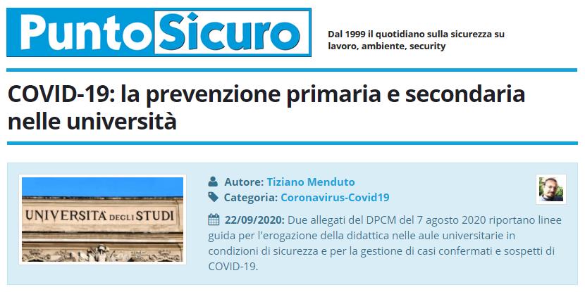 PuntoSicuro - COVID-19: la prevenzione primaria e secondaria nelle università