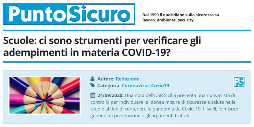 PuntoSicuro - Scuole: ci sono strumenti per verificare gli adempimenti in materia COVID-19?