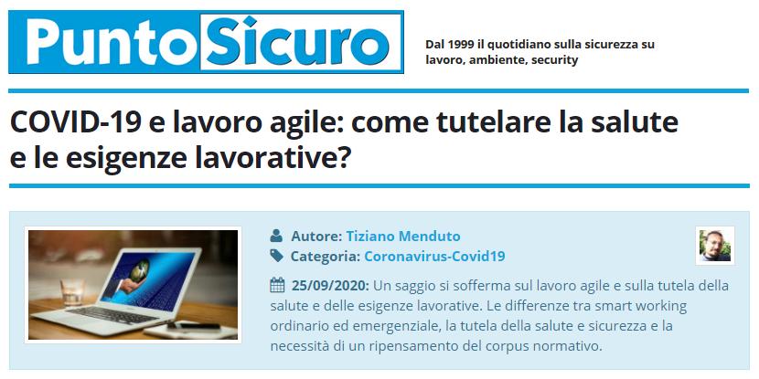 PuntoSicuro - COVID-19 e lavoro agile: come tutelare la salute e le esigenze lavorative?