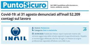 PuntoSicuro - Covid-19: al 31 agosto denunciati all'Inail 52.209 contagi sul lavoro