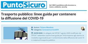 PuntoSicuro - Trasporto pubblico: linee guida per contenere la diffusione del COVID-19