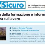 PuntoSicuro - L'importanza della formazione e informazione sulla sicurezza sul lavoro