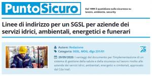 PuntoSicuro - Linee di indirizzo per un SGSL per aziende dei servizi idrici, ambientali, energetici e funerari