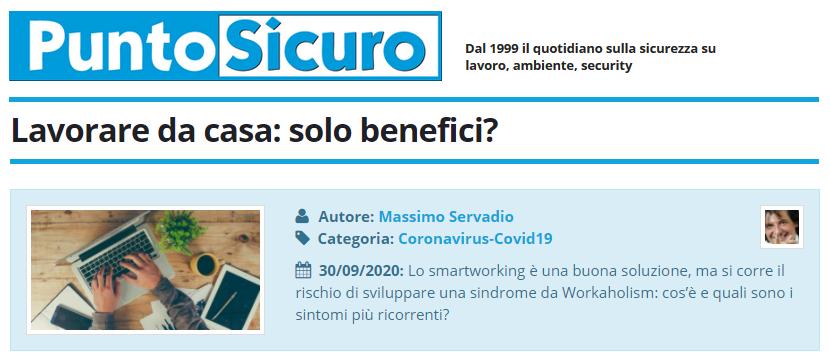 PuntoSicuro - Lavorare da casa: solo benefici?