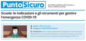 PuntoSicuro - Scuole: le indicazioni e gli strumenti per gestire l'emergenza COVID-19