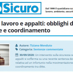 PuntoSicuro - Sicurezza sul lavoro e appalti: obblighi di cooperazione e coordinamento