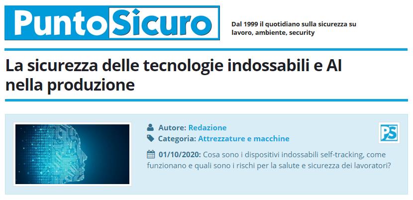 PuntoSicuro - La sicurezza delle tecnologie indossabili e AI nella produzione