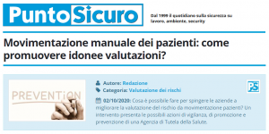 PuntoSicuro - Movimentazione manuale dei pazienti: come promuovere idonee valutazioni?