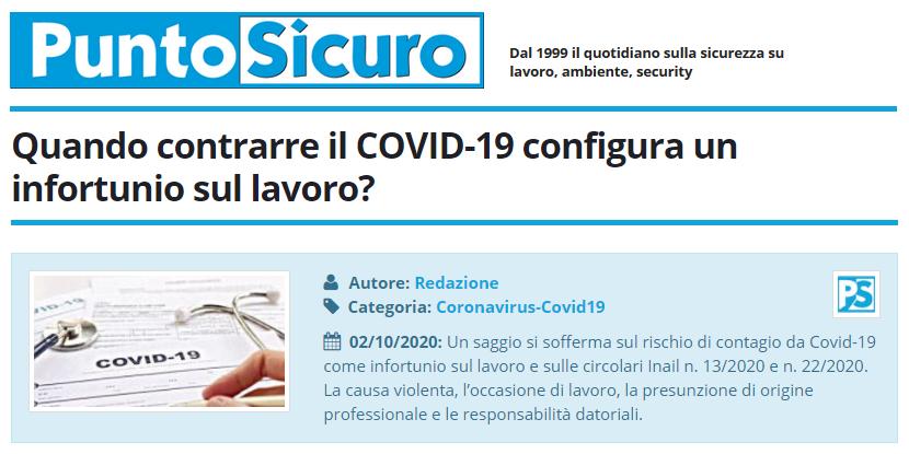 PuntoSicuro - Quando contrarre il COVID-19 configura un infortunio sul lavoro?