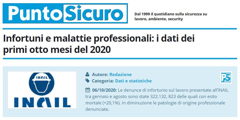PuntoSicuro - Infortuni e malattie professionali: i dati dei primi otto mesi del 2020
