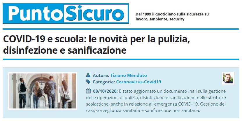 PuntoSicuro - COVID-19 e scuola: le novità per la pulizia, disinfezione e sanificazione