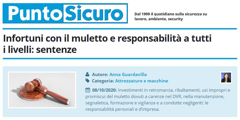 PuntoSicuro - Infortuni con il muletto e responsabilità a tutti i livelli: sentenze