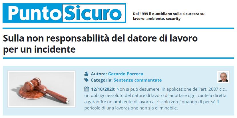 PuntoSicuro - Sulla non responsabilità del datore di lavoro per un incidente
