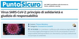 PuntoSicuro - Virus SARS-CoV-2: principio di solidarietà e giudizio di responsabilità
