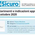 PuntoSicuro - COVID-19: chiarimenti e indicazioni applicative del DPCM 18 ottobre 2020