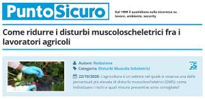 PuntoSicuro - Come ridurre i disturbi muscoloscheletrici fra i lavoratori agricoli