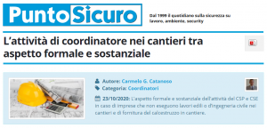 PuntoSicuro - L'attività di coordinatore nei cantieri tra aspetto formale e sostanziale