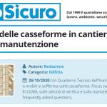 PuntoSicuro - La sicurezza delle casseforme in cantiere: normativa e manutenzione