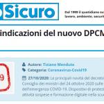 PuntoSicuro - COVID-19: le indicazioni del nuovo DPCM del 24 ottobre 2020