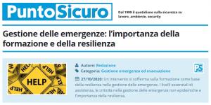 PuntoSicuro - Gestione delle emergenze: l'importanza della formazione e della resilienza