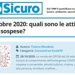 PuntoSicuro - DPCM 24 ottobre 2020: quali sono le attività consentite o sospese?