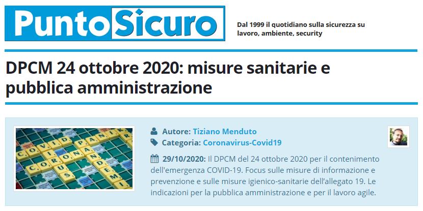 PuntoSicuro - DPCM 24 ottobre 2020: misure sanitarie e pubblica amministrazione