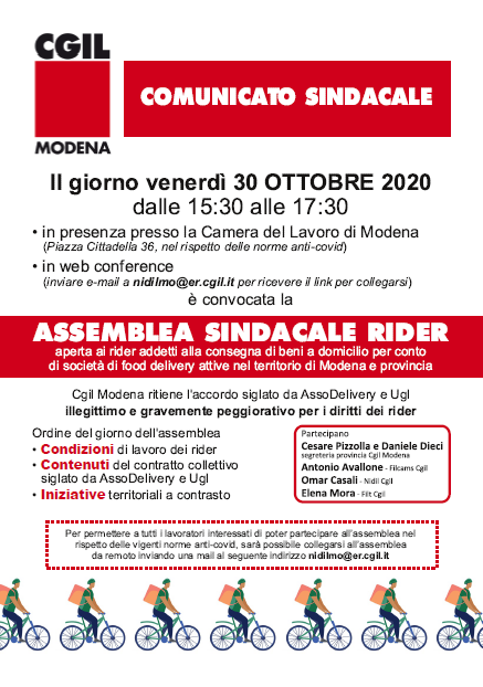 assemblea sindacale rider