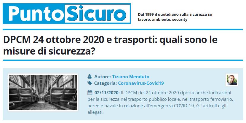 PuntoSicuro - DPCM 24 ottobre 2020 e trasporti: quali sono le misure di sicurezza?