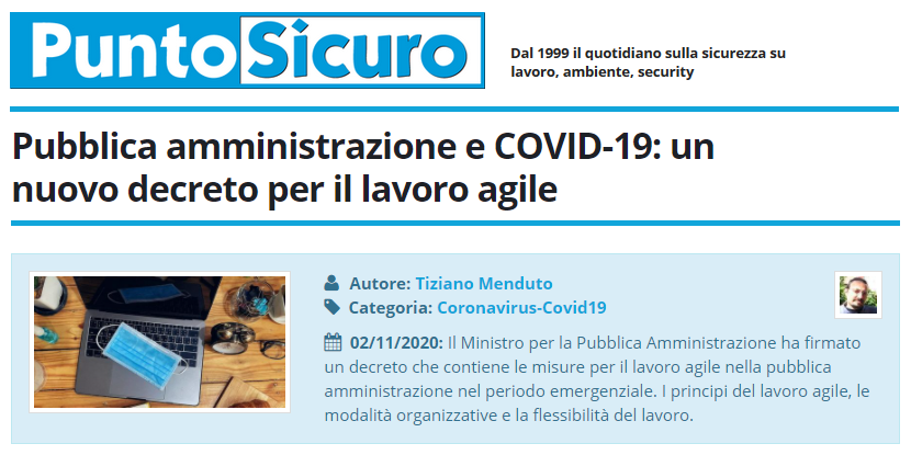 PuntoSicuro - Pubblica amministrazione e COVID-19: un nuovo decreto per il lavoro agile