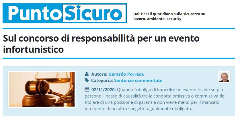 PuntoSicuro - Sul concorso di responsabilità per un evento infortunistico