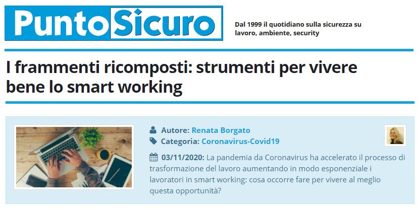 PuntoSicuro - I frammenti ricomposti: strumenti per vivere bene lo smart working