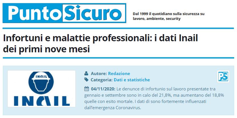 PuntoSicuro - Infortuni e malattie professionali: i dati Inail dei primi nove mesi