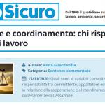 PuntoSicuro - Cooperazione e coordinamento: chi risponde tra i datori di lavoro