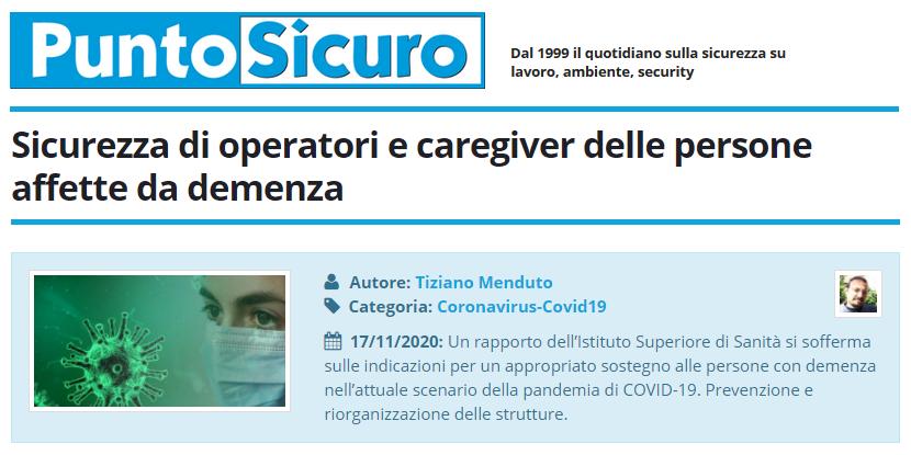 PuntoSicuro - Sicurezza di operatori e caregiver delle persone affette da demenza