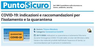 PuntoSicuro - COVID-19: indicazioni e raccomandazioni per l'isolamento e la quarantena