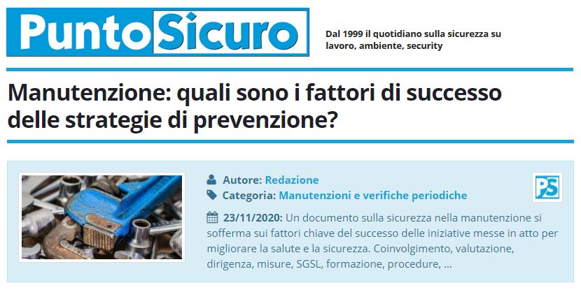 PuntoSicuro - Manutenzione: quali sono i fattori di successo delle strategie di prevenzione?