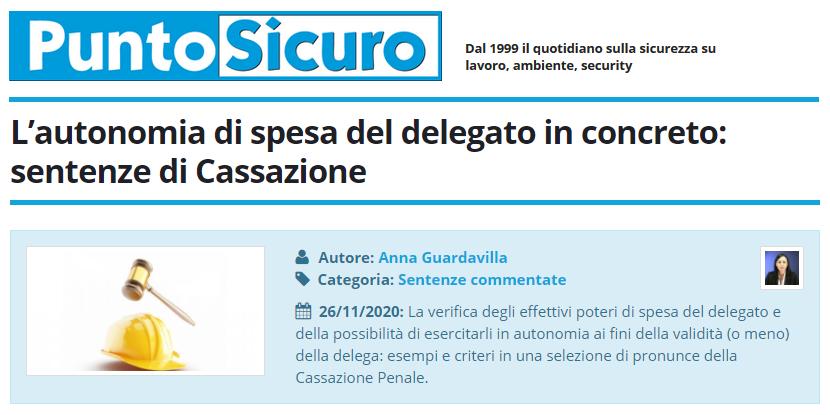 PuntoSicuro - L'autonomia di spesa del delegato in concreto: sentenze di Cassazione