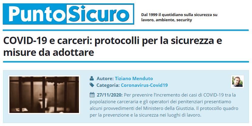 PuntoSicuro - COVID-19 e carceri: protocolli per la sicurezza e misure da adottare