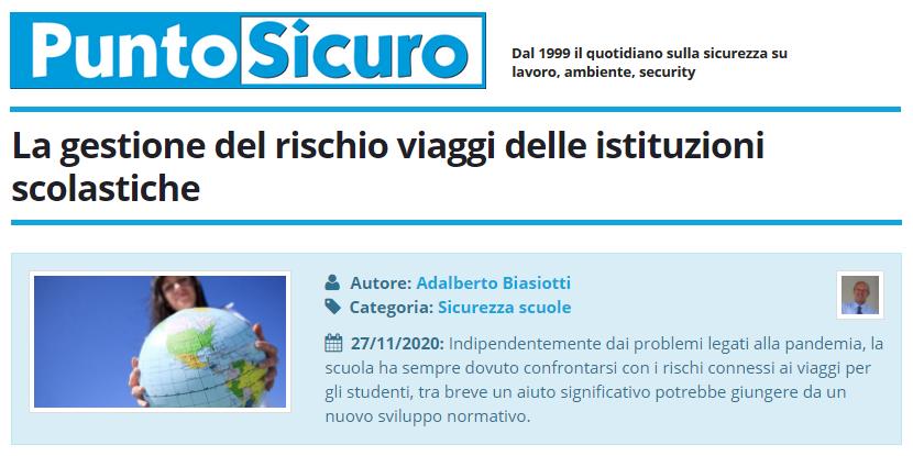 PuntoSicuro - La gestione del rischio viaggi delle istituzioni scolastiche