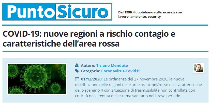 PuntoSicuro - COVID-19: nuove regioni a rischio contagio e caratteristiche dell'area rossa